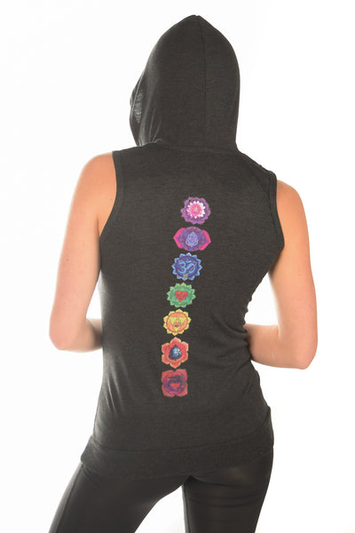 Sleeveless Full Chakra Hoodie - Third Eye Threads