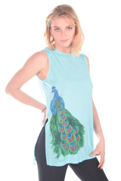 Third Eye Threads Eche Sleeveless Vented Tunic Art Deco Peacock - Third Eye Threads