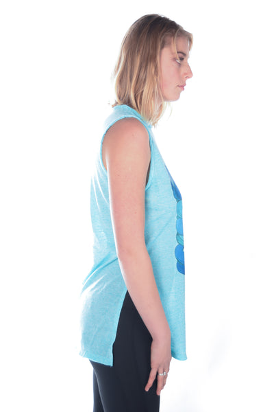 Third Eye Threads Eche Sleeveless Vented Tunic With Whales In The Ocean - Third Eye Threads