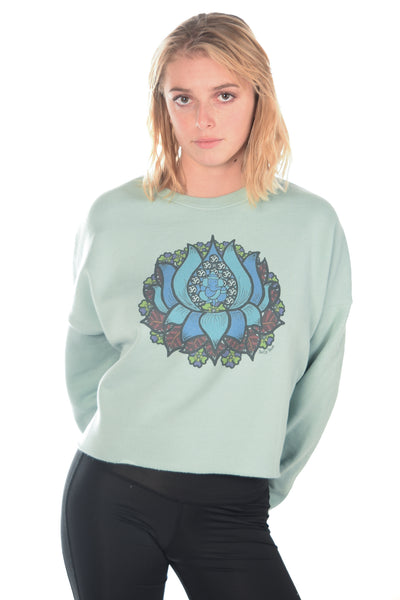 Medicine Blue Lotus On Crop Hoodie - Third Eye Threads