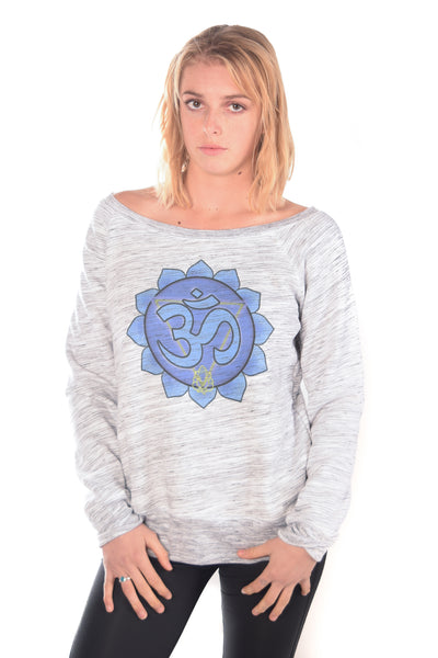 Throat Chakra Fleece Wide Neck Sweatshirt - Third Eye Threads