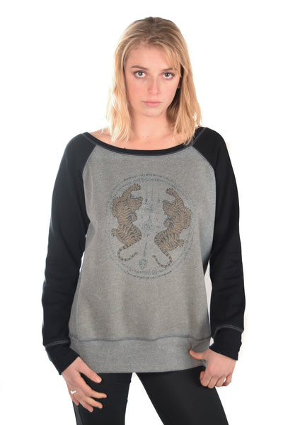 Thai Tiger Fleece Wide Neck Sweatshirt - Third Eye Threads