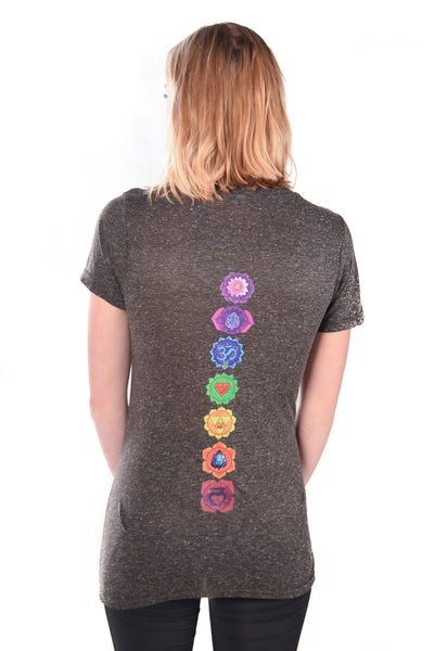 Linen V-Neck with Full Chakra Back - Third Eye Threads