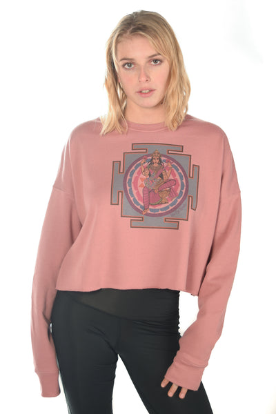 Crop Hoodie Abundance Goddess Lakshmi - Third Eye Threads