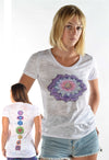 Crown Chakra with Full Chakra Back On White Crewneck Burnout