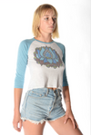 Blue OM Lotus on 3/4 Length Raglan - Third Eye Threads