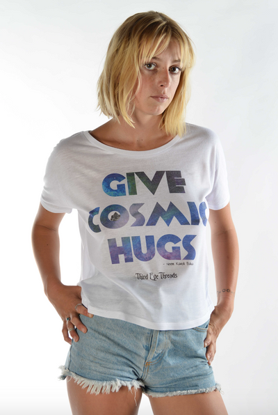 Give Cosmic Hugs On White Key Hole Back Tee - Third Eye Threads