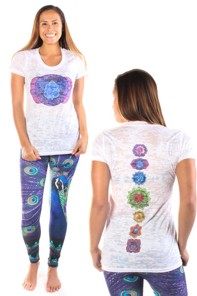 Third Eye Chakra on front with Full Chakra Back on Boat Neck Burnout Crew