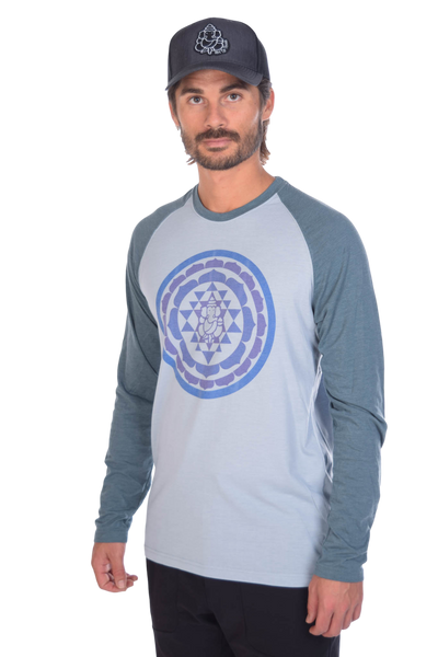 Sri Yantra on Long-Sleeve Men's Raglan