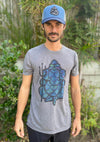 Merman Ganesh With Trident On Linen Blend Crew Neck Tee