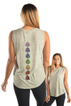Oatmeal Linen Blend Boyfriend Tee with Full Chakra Back
