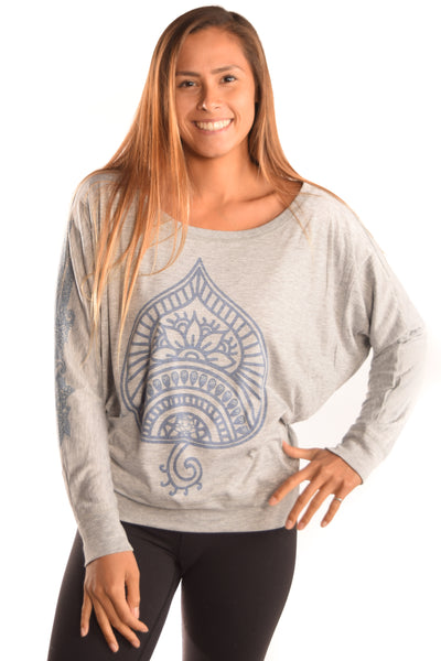 Auspicious Spade On Long Sleeve Dolman Tee with Henna Sleeve