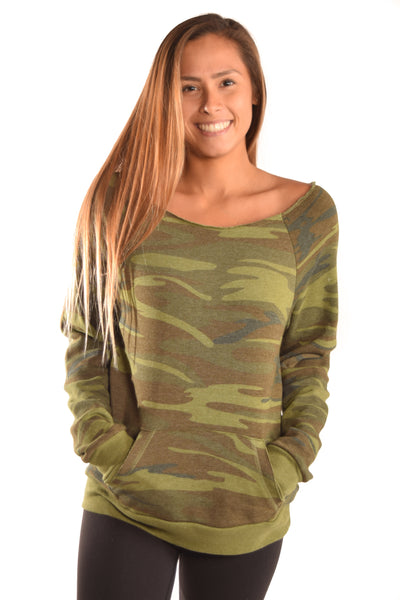 Camouflage Flashdance Sweatshirt with Full Chakra Back - Third Eye Threads