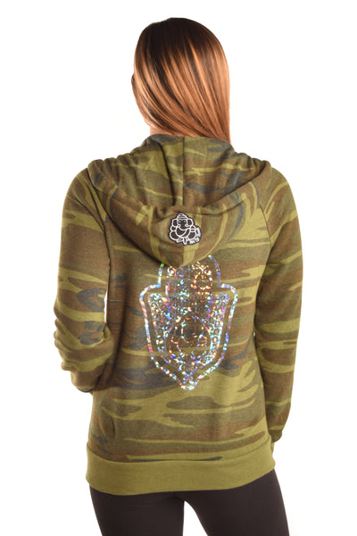 Camouflage Recycled Water Bottle and Organic Cotton Hoodie with Full Chakras - Third Eye Threads