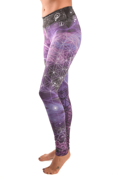 Purple Flower Pant Of Life Eco-light Recycled Water Bottle Pant - Third Eye Threads