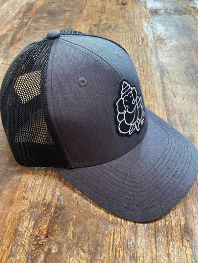 Charcoal Trucker Hat With Black Mesh Back