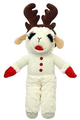 Lamb Chop with Reindeer Antlers Plush Dog Toy 13 Inch