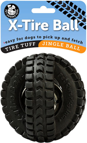 Pet Qwerks Jingle X-Tire Ball Dog Toy. 5 inch