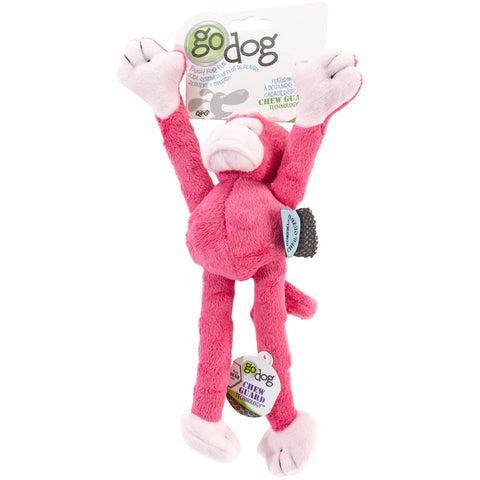 GoDog Crazy Tugs Monkey with Chew Guard Small-Pink