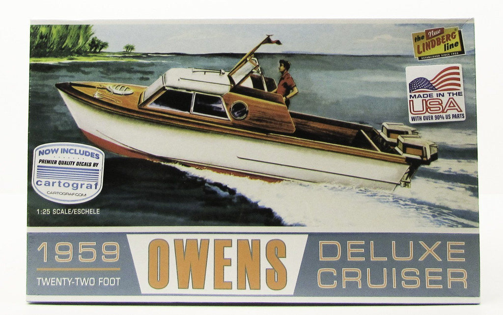 Lindberg 1959 Owens Dual Outboard Engine 22' Speed Boat Model Kit 1/25 - shore-line-hobby
