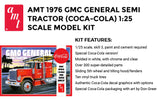 AMT 1976 GMC General Semi Truck - Super Detailed Coca-Cola Painted 1/25 Scale Model Big Rig Hauler Model Kit - Shore Line Hobby