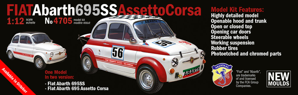 FIAT Abarth 695 SS/ ASSETTO CORSA  Italeri 4705 1/12 Plastic Model Kit - Shore Line Hobby