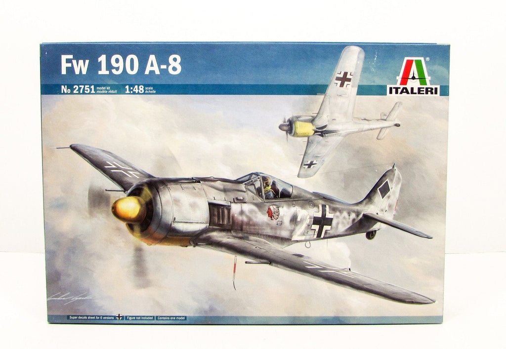 Fw 190 A-8 German WWII Aircraft Plastic Model Kit Italeri 2751 1/48 - shore-line-hobby