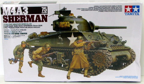M4A3 Sherman 75mm Gun Medium Tank Tamiya 35250 1/35 New Military Model Kit