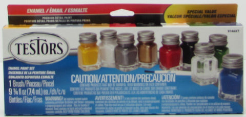 Testors Paint Set 9 Colors with 1 Brush Enamel Paint Set Plus 1 Tube of Glue