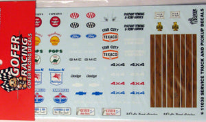 Service Truck & Pickup Truck & Car Detail Accessories Decal Set 1/24 1/25 Gofer Racing 11038 - shore-line-hobby
