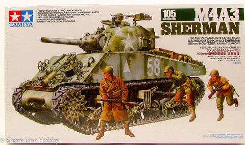 Tamiya M4A3 Sherman 105mm Howitzer 35251 New Armor Plastic Model Kit