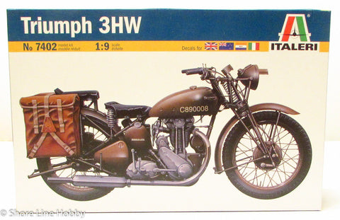 Italeri Triumph 3HW Military Motorcycle 7402 1/9 Plastic Model Kit