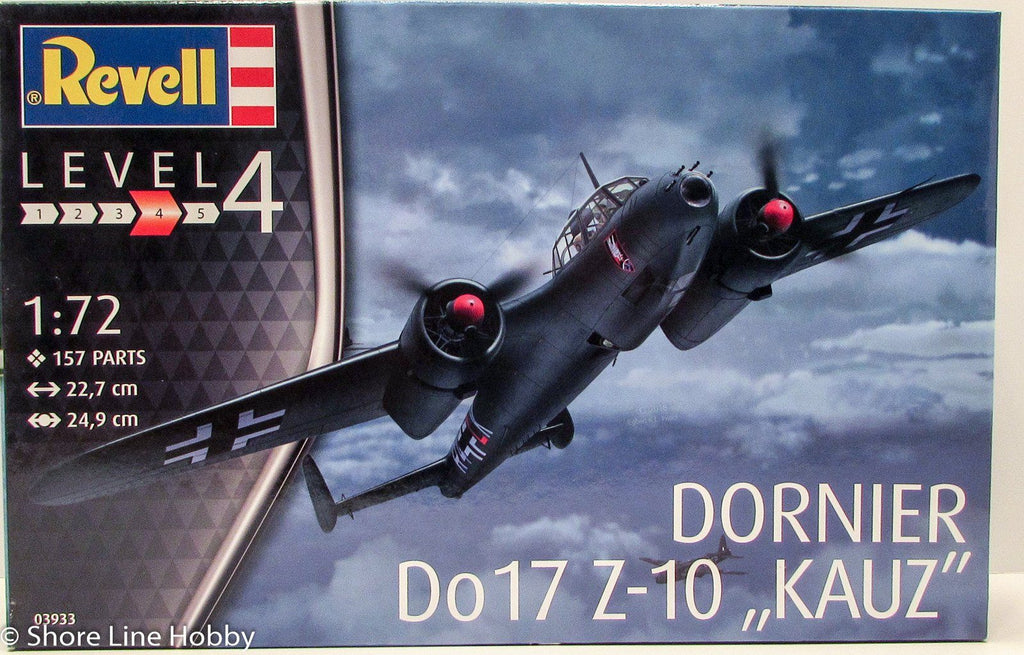 Revell Dornier DO17 Z-10 KAUZ 03933 1/72 New Plastic Model Airplane Kit - shore-line-hobby