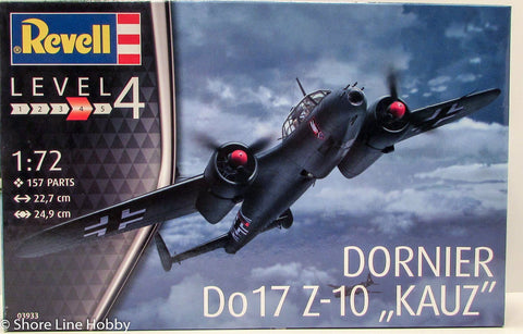 Revell Dornier DO17 Z-10 KAUZ 03933 1/72 New Plastic Model Airplane Kit