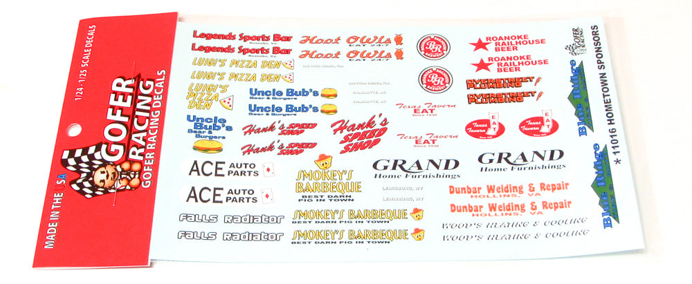 Hometown Sponsors Decal Sheet 1/24 1/25 Gofer Racing 11016 - shore-line-hobby