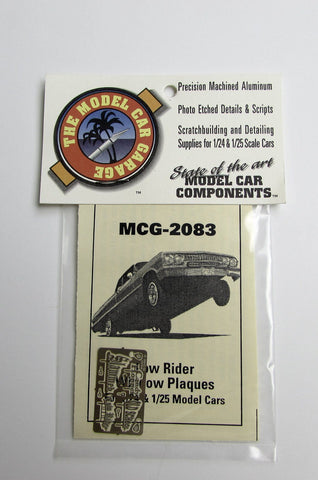 Lowrider Window Plaques Model Car Garage 1/24 1/25 Detail Accessories