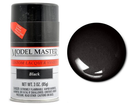 Testors 28133 Model Master Glossy Black Lacquer  3 Oz Aerosol Can - shore-line-hobby