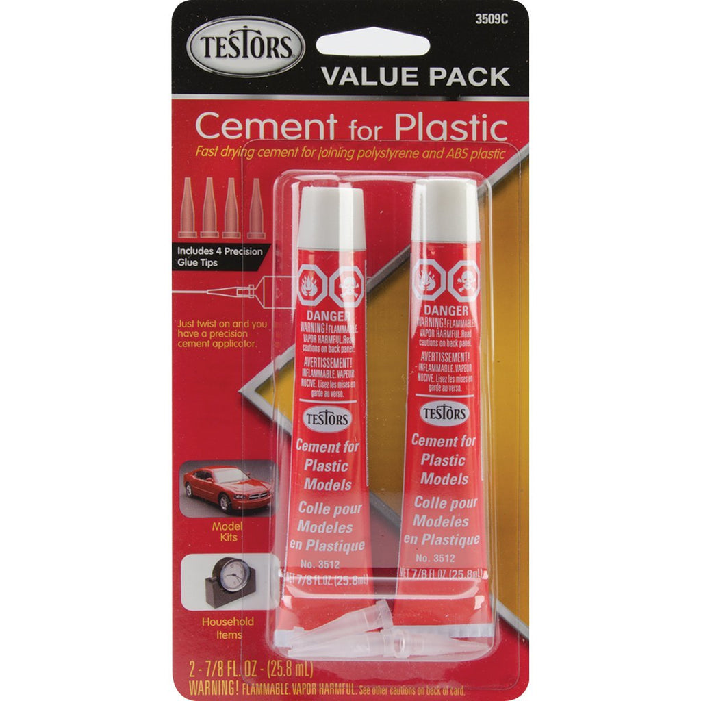 Testors Cement for Plastic Models 7/8 fl oz 3509 Value Pack 2 Tubes with Precision Tips - shore-line-hobby