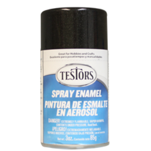 Testors 1254 Black Metallic Spray Enamel 3 oz Can Paint - Shore Line Hobby