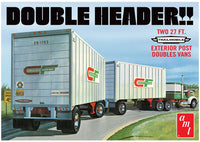 AMT 1132 1/25 Tandem Van Trailers, Double Header Model Kit - shore-line-hobby