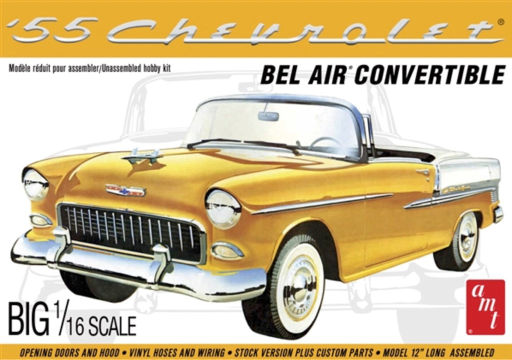 AMT 1134 1/16 1955 Chevy Bel Air Convertible Plastic Model Kit - shore-line-hobby