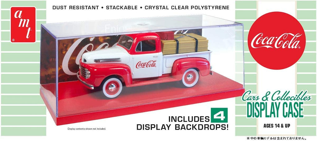 "Collectible Display Show Case with Red Display Base and 4""Coca-Cola Display Backdrops for 1/24-1/25 Scale Model Cars by AMT 1199 - Shore Line Hobby"