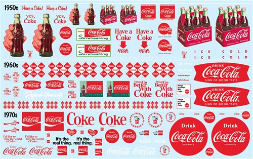 Coca Cola Graphics Decal Pack AMT MKA30 1/25 - shore-line-hobby