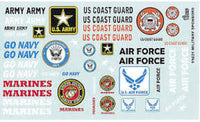 Military Sponsors Decal Set Gofer Racing Decals 1/24 - 1/25 11031 - shore-line-hobby
