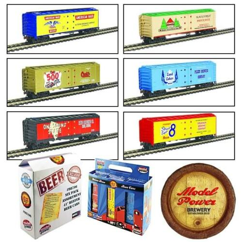 Model Power Ho Scale 6-Pack Assorted 41' Reefer Beer Cars Knuckle Coupler 98706 - Shore Line Hobby