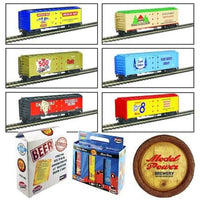 Model Power Ho Scale 6-Pack Assorted 41' Reefer Beer Cars Knuckle Coupler 98706 - shore-line-hobby