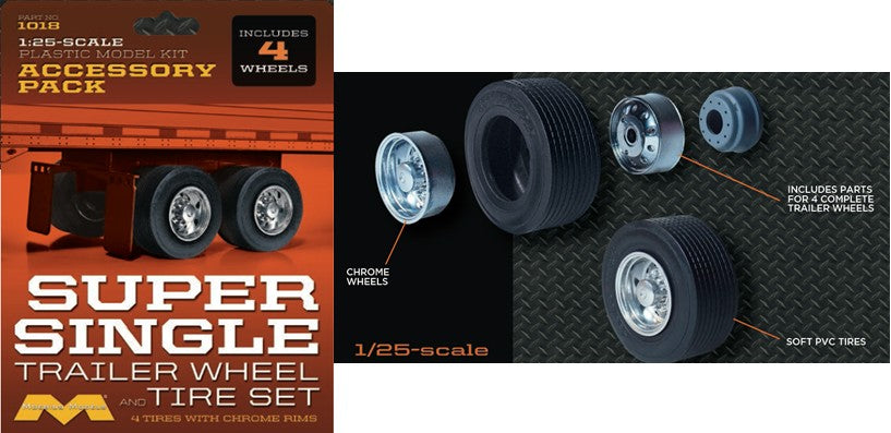 Moebius Models 1/25 Super Single Trailer Wheel & Tire Set (4/pk) #1018 - Shore Line Hobby
