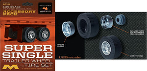 1/25 Super Single Trailer Wheel & Tire Set (4/pk) - shore-line-hobby