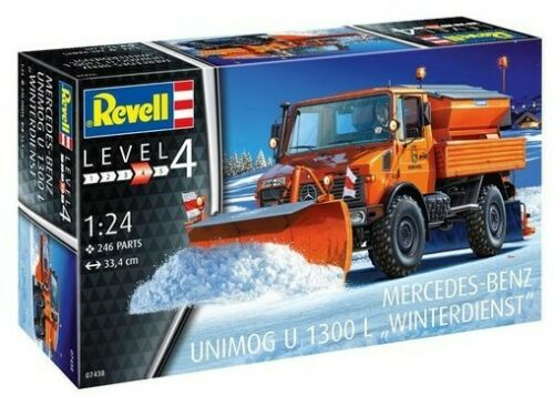 Revell -Germany 1/24 Unimog U1300L Winter Service Truck w/Snowplow RMG7438 - Shore Line Hobby