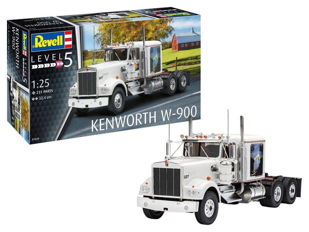 Kenworth W-900 Tractor Cab 1/25 Revell Germany 7659 Model Kit - Shore Line Hobby